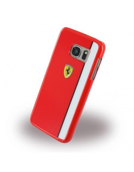 Ferrari - Paddock FELIHCS7RE - Hard Cover / Hard Case / Schutzhülle - Samsung G930 Galaxy S7 - Glossy Rot/Weiss
