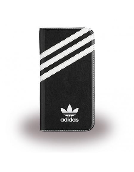 Adidas Basics - Book Cover / Hülle / Handytasche - Samsung G930F Galaxy S7 - Schwarz/Weiss