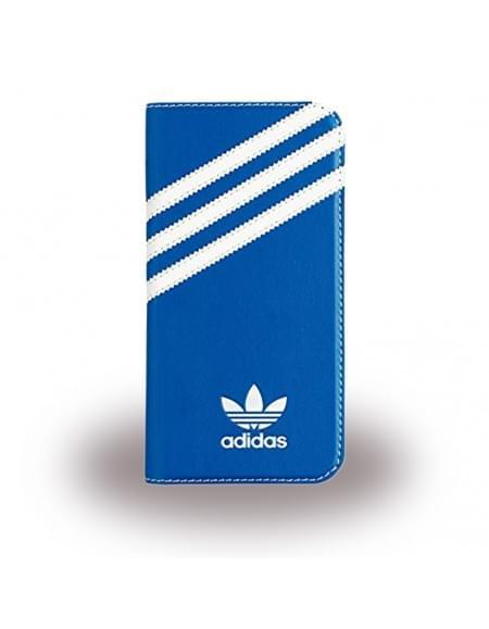 Adidas Basics - Book Cover / Hülle / Handytasche - Samsung G930F Galaxy S7 - Blau/Weiss