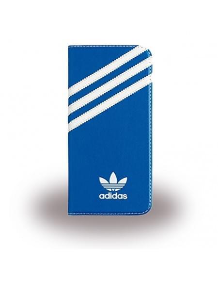 Adidas Basics - Book Cover / Hülle / Handytasche - Samsung G935F Galaxy S7 Edge - Blau/Weiss