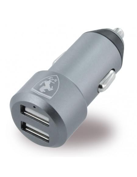 Ferrari - FECC2USBGR Aluminium - USB KFZ Ladegerät - 2x USB auf Micro USB - 4800mA - Grau