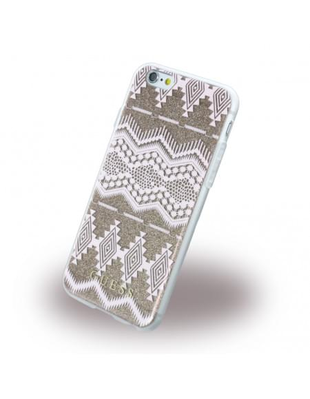 Guess - 3D Effect Aztec Tribal GUHCP6TGTA - Silikon Cover / Schutzhülle - Apple iPhone 6, 6s - Taupe
