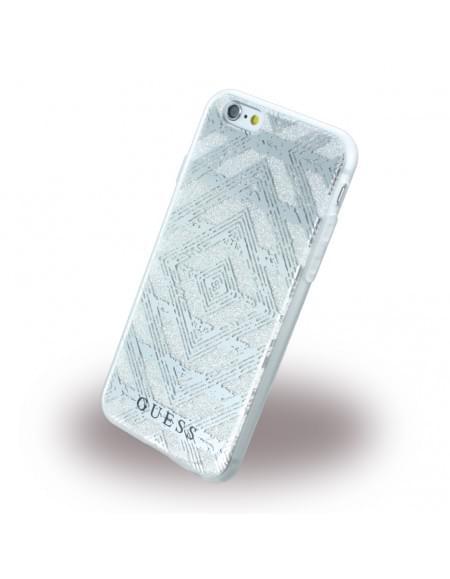 Guess - 3D Effect Aztec Tribal GUHCP6TGSI - Silikon Cover / Schutzhülle - Apple iPhone 6, 6s - Silber