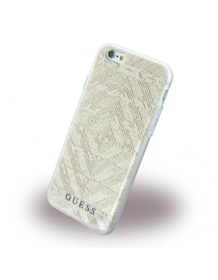 Guess - 3D Effect Aztec Tribal GUHCP6TGGBE - Silikon Cover / Schutzhülle - Apple iPhone 6, 6s - Beige