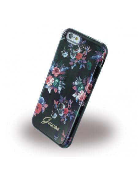 Guess - Blossom Flower GUHCP6FPRBK - Silikon Cover / Schutzhülle - Apple iPhone 6, 6s - Schwarz
