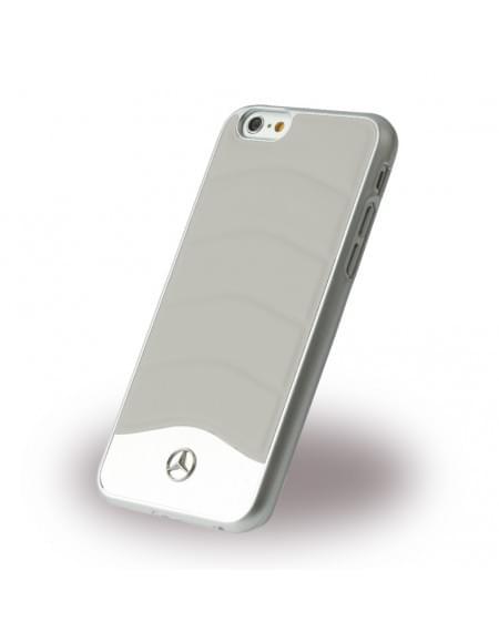 Mercedes Benz - Wave III Leder + Aluminium - MEHCP6CUSGR - Hardcover / Handyhülle - Apple iPhone 6, 6S - Kristall Grau