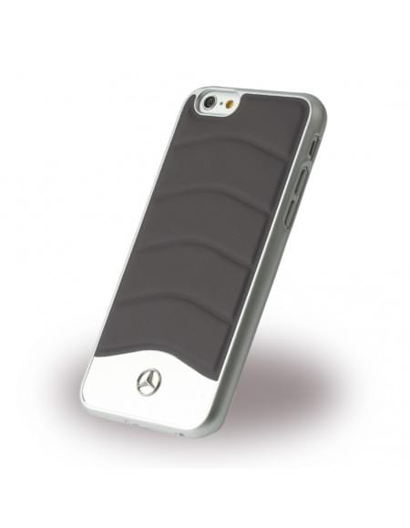 Mercedes Benz - Wave III Leder + Aluminium - MEHCP6CUSDGR - Hardcover / Handyhülle - Apple iPhone 6, 6S - Dunkel Grau