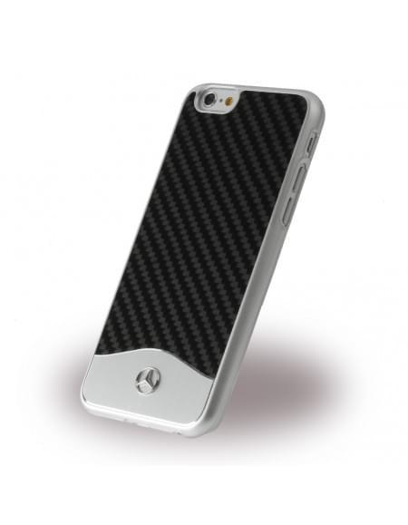 Mercedes Benz - Wave V Carbon + Aluminium - MEHCP6CACBK - Hardcover / Handyhülle - Apple iPhone 6, 6S - Schwarz