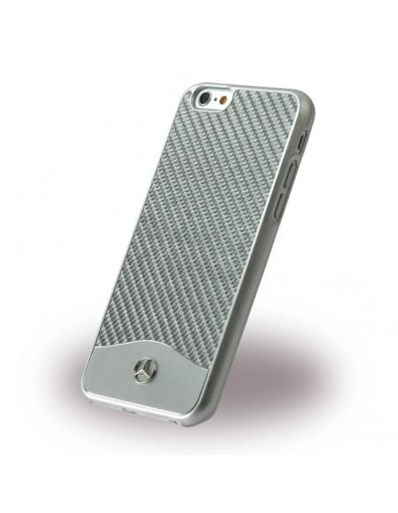 Mercedes Benz - Wave V Carbon + Aluminium - MEHCP6CACSI - Hardcover / Handyhülle - Apple iPhone 6, 6S - Weiss Silber
