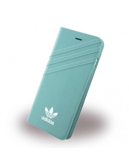Adidas Basics - Stand Case / Book Cover / Handytasche - Apple iPhone 7 Plus - Mineral Grün-Weiss