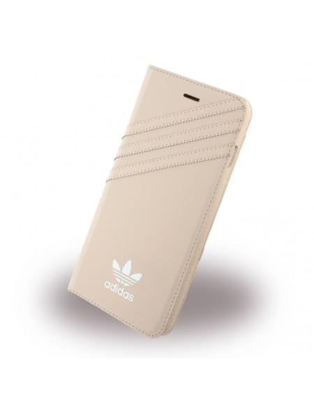 Adidas Basics - Stand Case / Book Cover / Handytasche - Apple iPhone 7 Plus - Vapour Pink-Weiss
