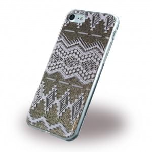 Guess - 3D Effect Aztec Tribal Silikon Cover / Schutzhülle - Apple iPhone 7 / 8 - Taupe
