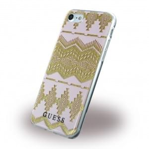 Guess - 3D Effect Aztec Tribal Silikon Cover / Schutzhülle - Apple iPhone 7 / 8 - Light Pink
