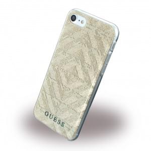Guess - 3D Effect Aztec Tribal GUHCP7TGGBE - Silikon Cover / Schutzhülle - Apple iPhone 7 - Beige