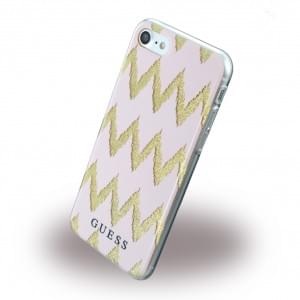 Guess - 3D Effect Stripes Chevron Silikon Cover / Schutzhülle - Apple iPhone 7 / 8 - Pink