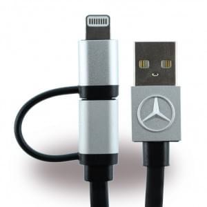 Mercedes Benz - MECBUBK - 2in1 Ladekabel + Datenkabel - Micro USB und Lightning - Apple iPhone 7, 7Plus, 6, 6Plus, 5se - Schwarz