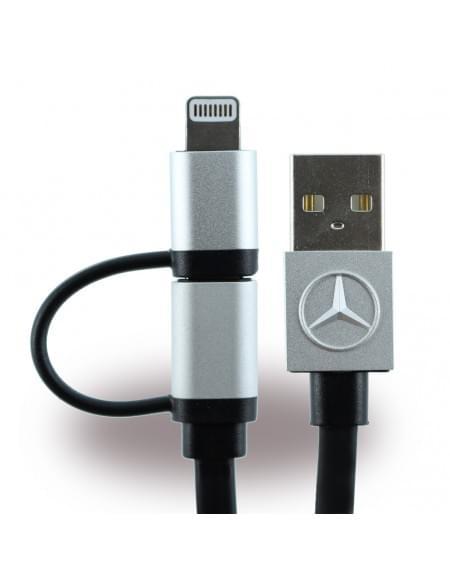 Original Mercedes Benz - MECBUBK - 2in1 Ladekabel + Datenkabel - Micro USB und Lightning - Apple iPhone 7, 7Plus, 6, 6Plus, 5se - Schwarz