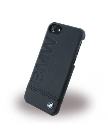 BMW - BMHCP7LLSB Signature Imprint Logo - Leder Cover / Hardcover / Handyhülle - Apple iPhone 7 - Schwarz