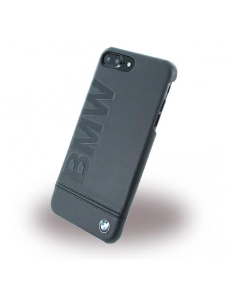 BMW - BMHCP7LLLSB Signature Imprint Logo - Leder Cover / Hardcover / Handyhülle - Apple iPhone 7 Plus - Schwarz