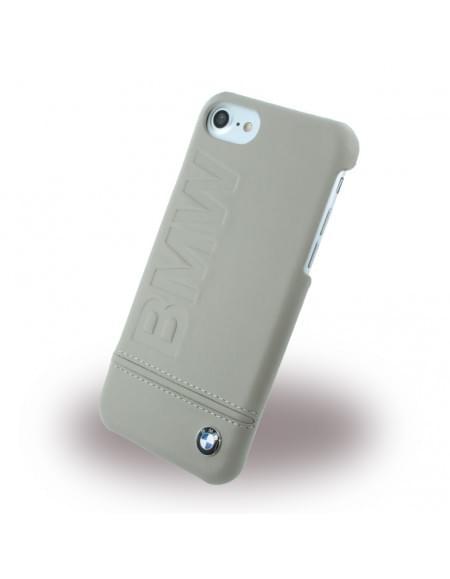 BMW - BMHCP7LLST Signature Imprint Logo - Leder Cover / Hardcover / Handyhülle - Apple iPhone 7 - Taupe