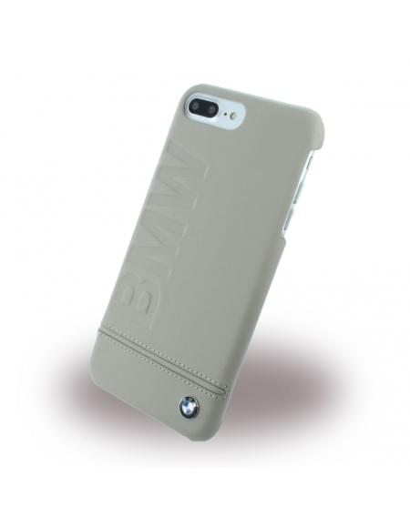 BMW - BMHCP7LLLST Signature Imprint Logo - Leder Cover / Hardcover / Handyhülle - Apple iPhone 7 Plus - Taupe