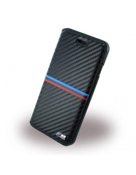 BMW - BMFLBKP7MSSCA - Carbon Inspiration - Book Cover / Book Case / Handytasche - Apple iPhone 7 - Schwarz