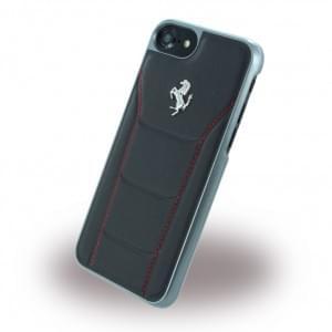 Ferrari - 488 Silber Leder Hardcover / Hülle / Handyhülle - Apple iPhone 7 / 8 - Schwarz/Rot