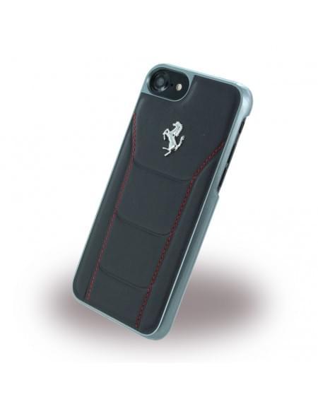 Ferrari - 488 Silber FESEHCP7BKR - Leder Hardcover / Hülle / Handyhülle - Apple iPhone 7 - Schwarz/Rot
