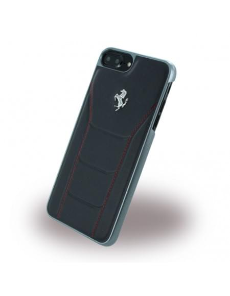 Ferrari - 488 Silber FESEHCP7LBKR - Leder Hardcover / Hülle / Handyhülle - Apple iPhone 7 Plus - Schwarz/Rot