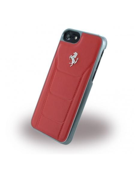 Ferrari - 488 Silber FESEHCP7RE - Leder Hardcover / Hülle / Handyhülle - Apple iPhone 7 - Rot