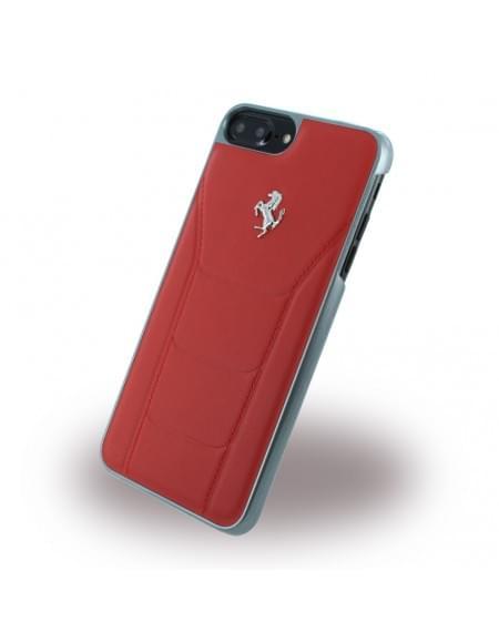 Ferrari - 488 Silber FESEHCP7LRE - Leder Hardcover / Hülle / Handyhülle - Apple iPhone 7 Plus - Rot