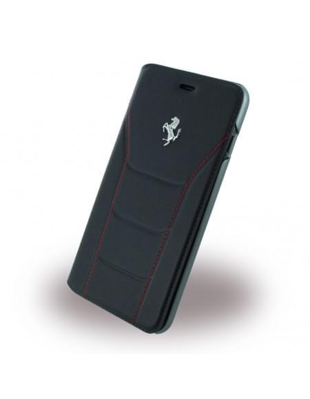 Ferrari - 488 Silber FESEFLBKP7LBKR - Leder Book Cover / Hülle / Handytasche - Apple iPhone 7 Plus - Schwarz/Rot