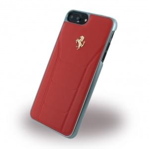 Ferrari - 488 Gold FESEGHCP7LRE - Leder Hardcover / Hülle / Handyhülle - Apple iPhone 7 Plus - Rot