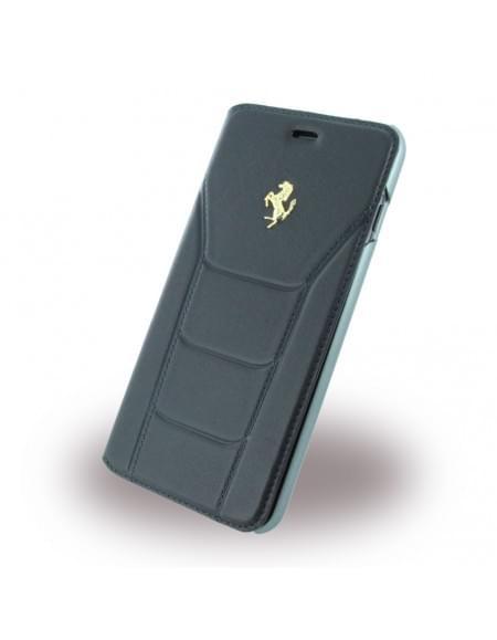 Ferrari - 488 Gold FESEGFLBKP7LBK - Leder Book Cover / Hülle / Handytasche - Apple iPhone 7 Plus - Schwarz