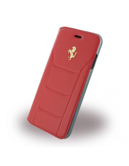 Ferrari - 488 Gold FESEGFLBKP7RE - Leder Book Cover / Hülle / Handytasche - Apple iPhone 7 - Rot
