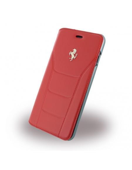 Ferrari - 488 Gold FESEGFLBKP7LRE - Leder Book Cover / Hülle / Handytasche - Apple iPhone 7 Plus - Rot