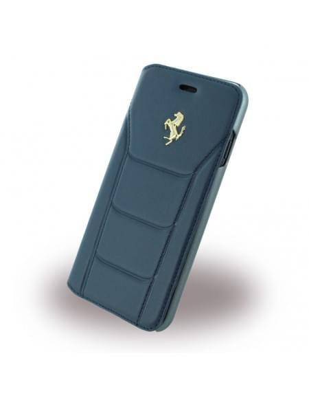Ferrari - 488 Gold FESEGFLBKP7BL - Leder Book Cover / Hülle / Handytasche - Apple iPhone 7 - Blau