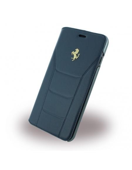 Ferrari - 488 Gold FESEGFLBKP7LBL - Leder Book Cover / Hülle / Handytasche - Apple iPhone 7 Plus - Blau