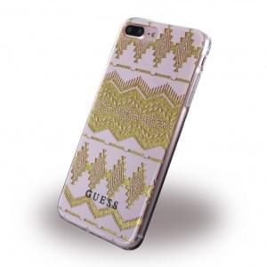 Guess - 3D Effect Aztec Tribal Silikon Cover / Handyhülle - Apple iPhone 8 Plus / 7 Plus - Light Pink