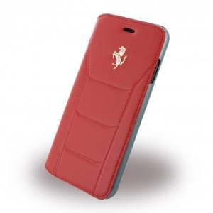 Ferrari - 488 Silber FESEFLBKP7RE - Leder Book Cover / Hülle / Handytasche - Apple iPhone 7 - Rot