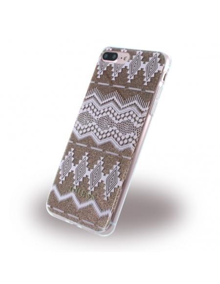 Guess - 3D Effect Aztec Tribal GUHCP7LTGTA - Silikon Cover / Handyhülle - Apple iPhone 7 Plus - Light Taupe