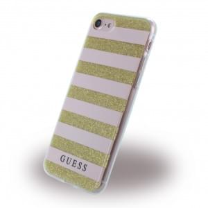 Guess - 3D Effect Stripes Tribal Silikon Cover / Schutzhülle - Apple iPhone 7 / 8 - Light Pink