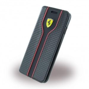Ferrari - Racing Carbon Book Cover / Handytasche - Apple iPhone 7 / 8 - Schwarz