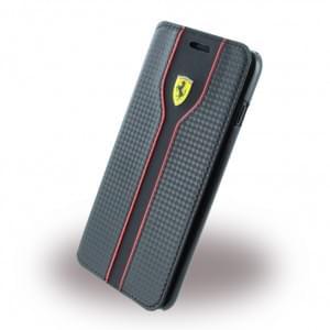 Ferrari - Racing FEST2FLBKP7LBK - Carbon Book Cover / Handytasche - Apple iPhone 7 Plus - Schwarz