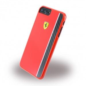 Ferrari Paddock Glossy Carbon - Hardcover / Case / Handyhülle - Apple iPhone 8 Plus / 7 Plus - Schwarz