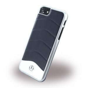 Mercedes Benz - Wave III Leder + Aluminium Hardcover / Handyhülle - Apple iPhone 7 / 8 - Blau