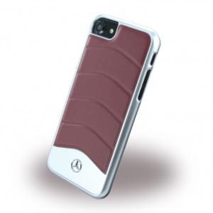 Mercedes Benz - Wave III Leder + Aluminium Hardcover / Handyhülle - Apple iPhone 7 / 8 - Rot