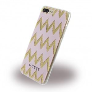 Guess - 3D Effect Stripes Chevron Silikon Case / Schutzhülle - Apple iPhone 8 Plus / 7 Plus - Pink