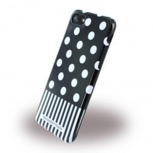 Trussardi iPhone SE 2020 / iPhone 8 / 7 Pois Silikon Cover / Handyhülle Schwarz