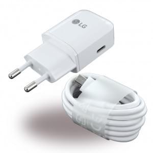 Original LG MCS-N04 USB Ladegerät + USB Typ C Ladekabel - 3000mA - Weiss